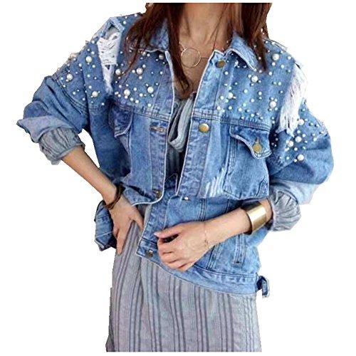 CYSTYLE 2018 Damen Jeansjacke BF Stil Übergangsjacke Leichte Jacke Denim Casual mit Perle (Hellblau, EU L=Asia XL)
