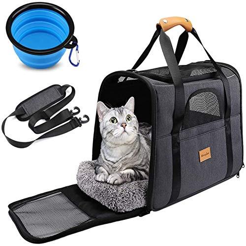 猫 キャリー バッグ 折りたたみ ペットキャリー バッグ 4way ショルダー 中・大型猫用・小型犬・うさぎ用 ...