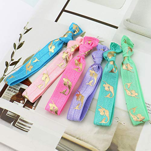 JETEHO 42 PCS Elastic Mermaid Hair Ties Party Favors Crease Free Knotted Bow Hair Tie Set Ponytail Holder Hair Bands