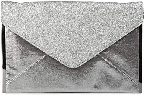 styleBREAKER glitzernde Envelope Clutch, Abendtasche im Kuvert Design mit Gliederkette, Flache Ausführung, Tasche, Damen 02012148, Farbe:Silber