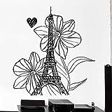 ASFGA Torre de París Tatuajes de Pared Francés Vacaciones Flores Amor Corazón Romance Dormitorio Sala de Estar Decoración del hogar Ventanas Vinilo Pegatina Flores No Pareja Té Restaurante DEC