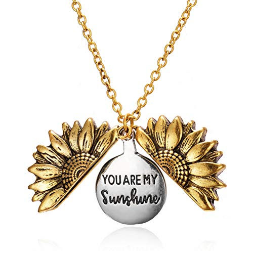 kuou Sunflower Locket Necklace, You are My Sunshine Engraved Pendant Necklace Can Be Opened for Women Girl Birthday Christmas Wedding Gift