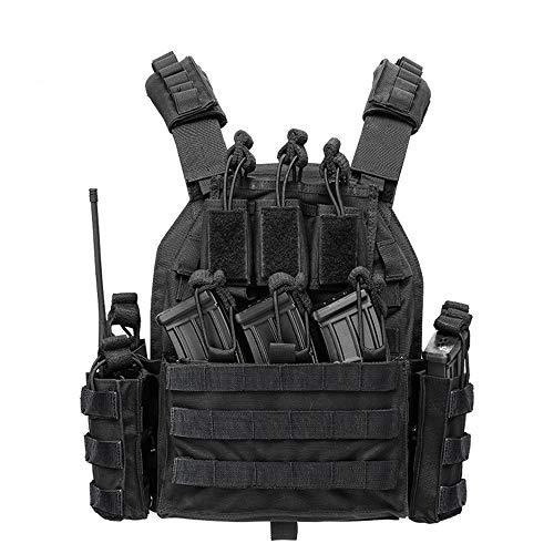 Viktion Gilet Tactique Armée Airsoft Multi-Fonctionnel Nylon 1000D Gilet De Terrain Ajustable Fournitures Police et Les Militaires, engins Tactiques (Noir)