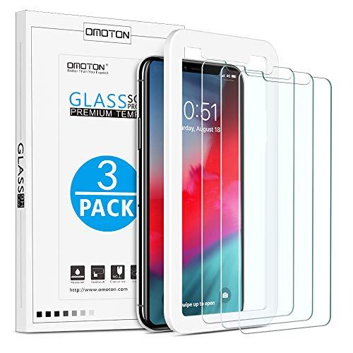 OMOTON 3 Stück Schutzfolie für iPhone 11 Pro Max & iPhone XS Max, 6.5 Zoll, Glasfolie mit Positionierhilfe, Anti-Kratzen, Anti-Öl, Anti-Bläschen, Hülle Fre&llich, 2.5D Kante
