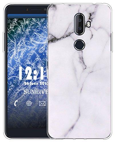 Sunrive Für Alcatel 3V Hülle Silikon, Transparent Handyhülle Schutzhülle Etui Case für Alcatel 3V(TPU Marmor Weißer)+Gratis Universal Eingabestift