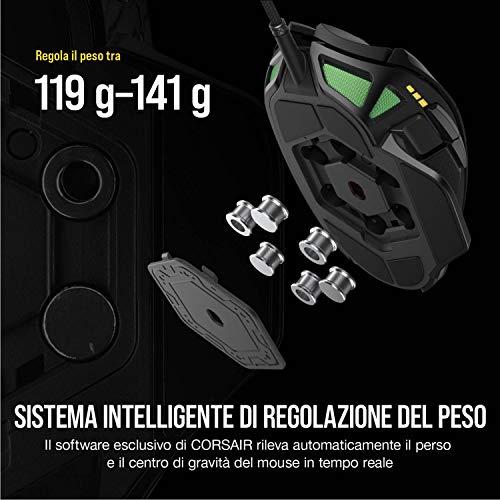 Corsair Nightsword RGB, Regolabile FPS/MOBA Mouse Gaming Ottico (18000 DPI Ottico Sensore, Sistema di Regolazione del Peso, 10 Pulsanti Programmabili, Retroilluminazione LED RGB), Nero