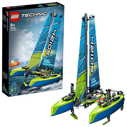 LEGO Technic Catamaran 42105 Model Sailboat Building Kit, New 2020 (404 Pieces)
