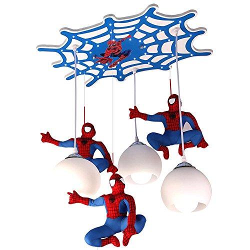 CARYS LED Deckenleuchte Pendelleuchte Deckenlampe Hängelampe Kinderzimmer Hängeleuchte Spiderman 3-flammig Lampenschirm Wohnzimmer Junge Mädchen Kronleuchter Esszimmer E27 Lampe Blau Schlafzimmer