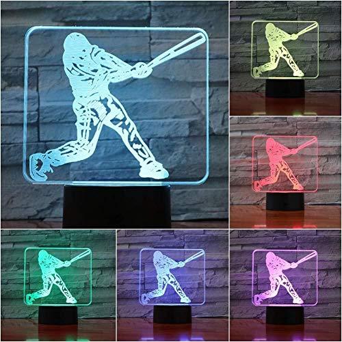 Joueur de baseball Action Figure 3D Illusion Led Night Light USB Enfants cadeau enfants bébé Veilleuse Lampe de chevet Bureau festival Atmosphere Décor lampe lumière de nuit