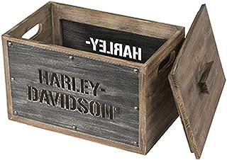 HARLEY-DAVIDSON Wooden Storage Box w/Lid - Stainless Steel Laser Cut HDL-18587