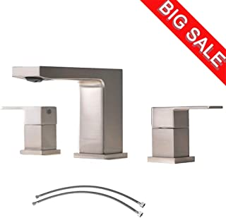 VCCUCINE Best Commercial 3 Holes Two Handles Lavatory Vanity Sink Widespread Brushed Nickel Bathroom Faucet, Bathroom Sink Faucet With Hoses