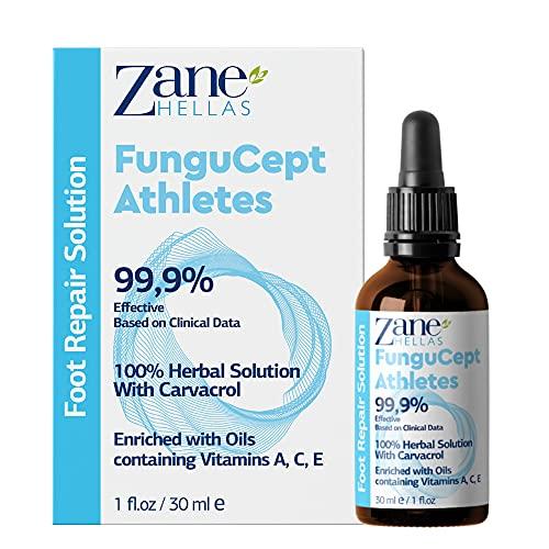 Zane Hellas FunguCept Solución de reparación para atletas. Alivia la picazón, el ardor, las grietas y las escamas. Detener el mal olor. Resultados visibles en 5 días. 1 onza líquida - 30 ml