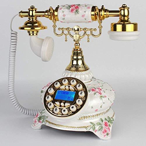 Teléfono antiguo europeo, con cable digital retro, teléfono fijo clásico, clásico, con auriculares colgantes, para decoración del hogar, hotel, oficina, color blanco