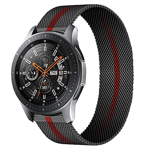 LLMXFC Correa magnética de 20 mm/22 mm para Samsung Galaxy Watch 3, 45 mm, 41 mm/Active 2 46 mm/42 mm Gear S3 pulsera Huawei GT/2/2e (Color de la correa: negro y rojo 11, tamaño: Active2 40 mm 44 mm)