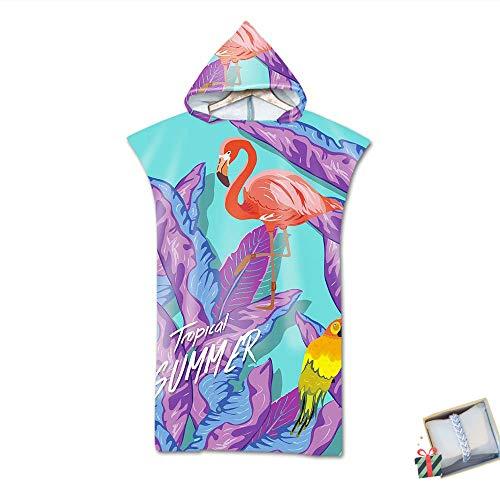 Strand Poncho Kapuzen, Morbuy Strandtücher Mikrofaser Bade Bademantel Schwimmen Surfing Sport Handtuch Badetuch Duschtücher Handtücher Für Damen Herren (75 * 110cm,Flamingo)