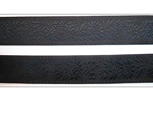 2 m Borte Blüten Blumen Muster Gemustert Wäsche Tracht Band Landhaus Dirndl Wiesn 35mm breit Farbe: schwarz
