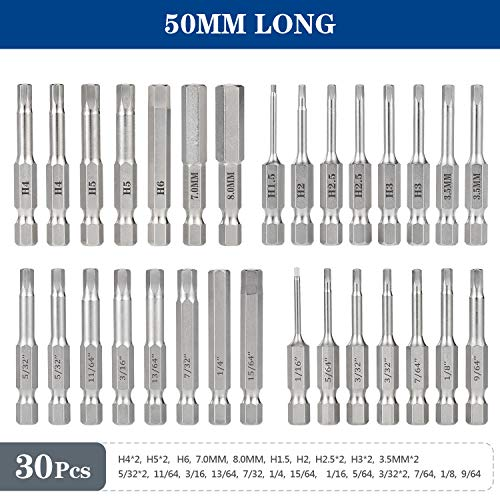 30 Piece Hex Head Allen Wrench Drill Bit Set, 1/4 Inch Hex Shank Metric and SAE S2 Steel Hex Bit Set, Magnetic Tips 50mm Long