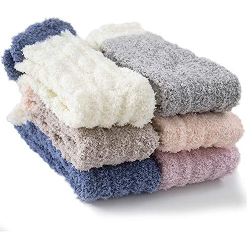 Fuzzy Socks for Women, Warm Soft Fluffy Socks Thick Cozy Plush Sock Winter Christmas Socks for Women 6 Pairs