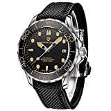 Pagani Design 007 Seamaster Automatic Diving Watches for Men Stainless Steel Band, Ceramic Bezel, Sapphire Curved Mirror, Waterproof Mechancial Wrist Watch (Rubber Nylon Yellow)