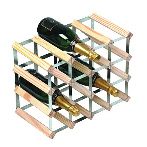 RTA 16 Bottle Traditional Wine Rack - Fully Assembled - Natural Pine FSC