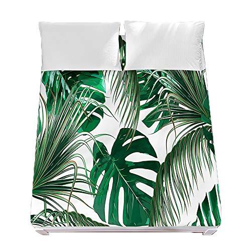 Sábana Bajera Ajustable Colchones Decorativa Verde 3D Plantas Tropicales Impresión, Chickwin Suave Microfibra Tela- Elástico en el Borde Bolsillo Profundo 30cm (Plantas Verdes,150x200x30cm)