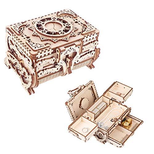 OHHCO Caja de Modelo 3D montada a Mano, Caja de Almacenamiento de Joyas de Madera Maciza, Caja Fuerte Hecha a Mano para Anillos, Pendientes, Accesorios, Gemas, antigüedades, Regalos de Boda Unisex