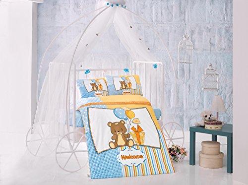 Sweet Ours Bleu Lit Bébé Housse de couette de lit, 100% coton doux et Sain Parure de lit 4 pièces