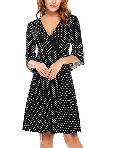 Beyove Damen Polka Dots Wickelkleider V- Ausschnitt Jersey Kleid Wickeloptik Partykleider Schwarz Größe S
