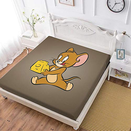 Fitted Sheet,Tom And Jerry Cat Mouse (37),Soft Wrinkle Resistant Microfiber Bedding Set,with All-Round Elastic Deep Pocket, Bed Cover for Kids & Adults,full (59x80 inch)