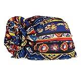 dailymall Gorro Mujer de Algodón para Quimio y Oncológicos Gorro de Dormir Sombrero Turbante Musulmán Africano Floral - Azul Real