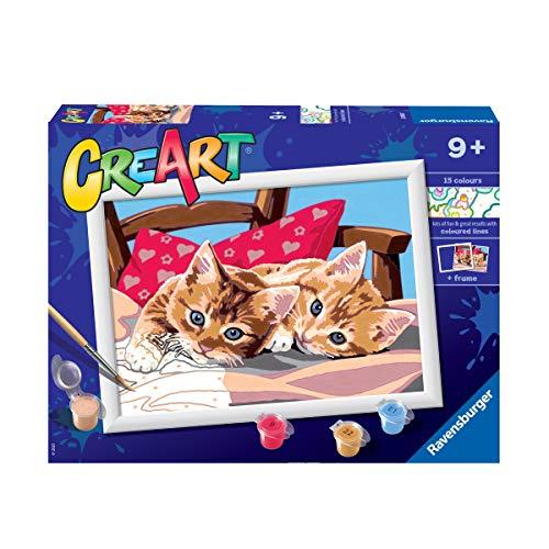 Ravensburger CreArt Gatitos en la almohada, Kit de Pintura, Pintar por Números, Juego Creativo para Niños y Niñas, Edad Recomendada 9+