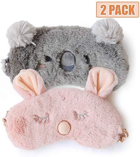 H HOMEWINS 2 Stück Schlafmaske 3D Süße Atmungsaktive Augenmaske aus 100% Naturseide & Plüsch Verstellbares Gummiband Schlafbrille Nachtmaske für Schlafen Reisen Party (Rosa Kaninchen + Grau Koala)