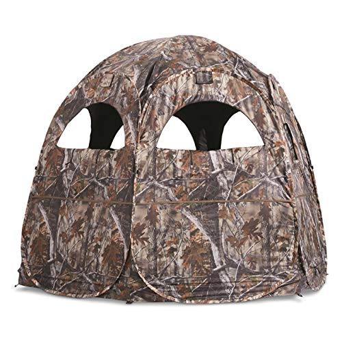 Guide Gear Super Magnum Pop-Up Hunting Ground Blind, 2-4 Person Tent, Hunting Gear, Equipment, and Accessories, 6-Panel Spring Steel
