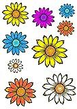 AWS Juego de 9 pegatinas de flores margaritas impermeables para coche o moto, en 2 formatos de margaritas flowers (Foglio A3)