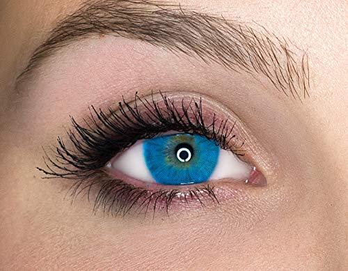 Kontaktlinsen farbig ohne Stärke farbige Jahreslinsen weiche Linsen soft Hydrogel 2 Stück Farblinsen + Linsenbehälter 0.0 Dioptrien natürliche Farben Serie Queen Azul (blau intensiv)