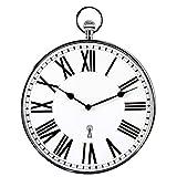 Orologio da parete design - Orologio da taschino stile vintage - Grandi numeri romani - Lettura facile - Radiopilotato - Ø 30 CM - Adatto per cucina, salotto, camera - argentato