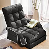 WAYTRIM Indoor Chaise Lounge Sofa, Folding Lazy Sofa Floor Chair 6-Position Folding Padded, Lounger Bed with Armrests, a Pillow, Side Pocket and Cup Holder Chaise Couch - Charcoal