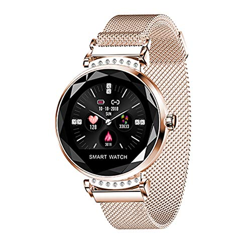 AGKupel Smartwatch für Damen Fitness Armband H2 Uhr Wasserdicht mit Herzfrequenz Blutdruck Pulsmesser Farbbildschirm Aktivitätstracker Schlafmonitor Schrittzähler für IOS Android (Gold)