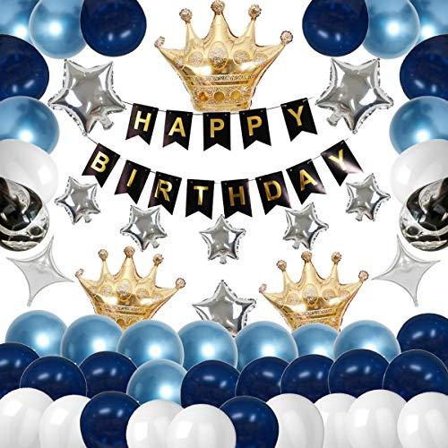 QAQGEAR 78PCS Men Birthday Decorations Kit Boy Party Supplies with Black Birthday Banner Sliver Star Balloon Crown Balloon Sliver Four Point Star Balloon Metallic Blue Navy White Balloon For Boys Men