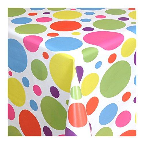 WACHSTUCH Tischdecken Wachstischdecke Gartentischdecke, Abwaschbar Meterware, Länge wählbar, Colours and Spots Weiß Bunt (621-00) 140cm x 140cm