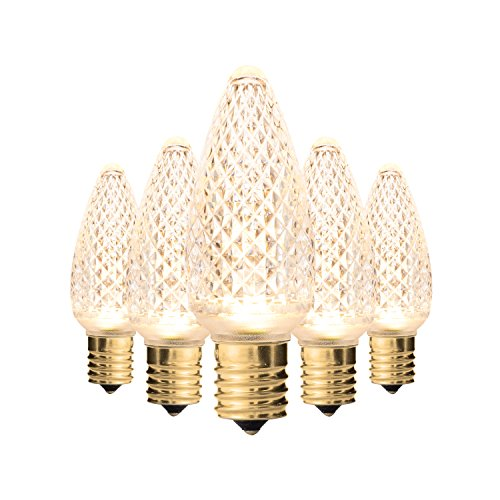 Set of 25 Holiday Lighting Outlet Faceted C9 Christmas Lights | Sun Warm White LED Light Bulbs Holiday Decoration | Warm Christmas Decor for Indoor & Outdoor Use | 3 SMD LEDs in Each Light Bulb
