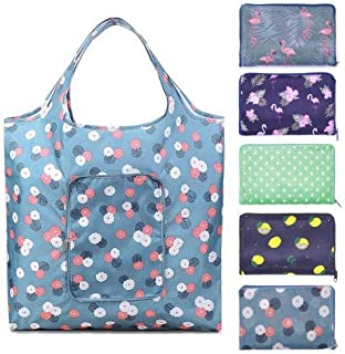 HQDeal Roll over image to zoom in 5 Pack Reusable Shopping Bag, 42 63cm Foldable Tote Bag,210D Waterproof Zipper Shopper S...