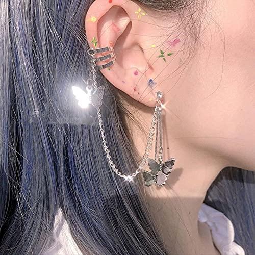 Pendiente de Moda para Mujer Pendientes de Gota Cruzados Puck Rock Vintage Crystal Ear Cuff Joyería para niñas Cool Butterfly Bohemia