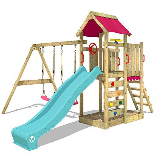 WICKEY Spielturm MultiFlyer - Klettergerüst mit Schaukel, Sandkasten, Kletterwand, pinker Plane, türkiser Wellenrutsche und viel Spiel-Zubehör
