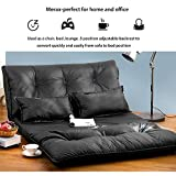 Merax Floor Sofa Bed Foldable Leather Futon Sofa Bed 5-Position Lounge Bed Floor Mattress Lazy Sofa Folding Floor Couch with 2 Pollows (Black)