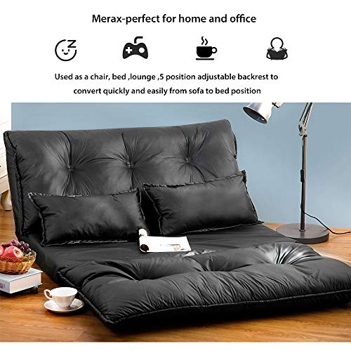Merax Foldable Floor Sofa Bed Leather Adjustable Futon Sofa Bed Lounge Bed Floor Mattress Lazy Sofa Folding Floor Couch with 2 Pollows (Black)