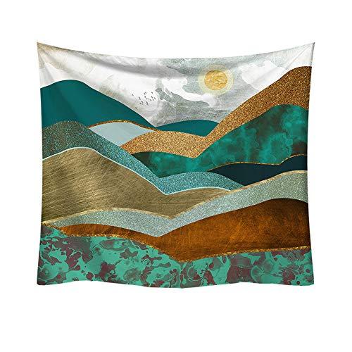 Boyouth Tapiz de acuarela para colgar en la pared, diseño abstracto de montañas y sol, impresión digital, para decoración de salón, dormitorio, 90 x 28.7 cm
