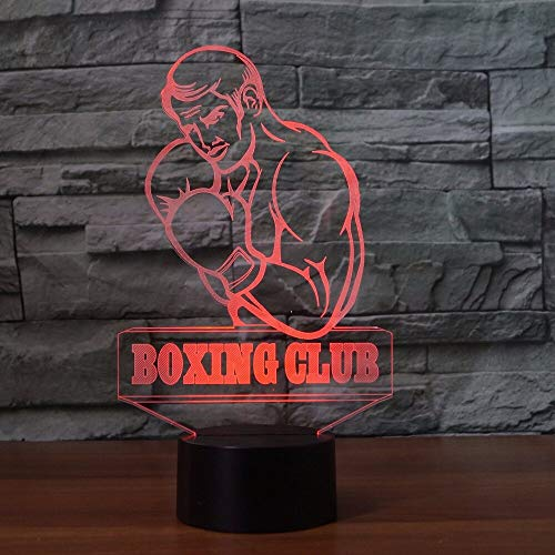 Lámpara de mesa 3D, luz nocturna LED de boxeo visual para hombres, para amantes del boxeo, botón, decoración USB