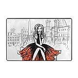 Oforp Alfombra de baño,Dibujo artístico Dibujado a Mano de Mujer sentada en un Banco en Roma,Italia Alfombra de baño 75cmx45cm