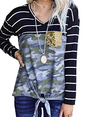 Sudadera de manga larga con cuello redondo y lentejuelas, dobladillo con lazo, para mujer, diseño de camuflaje, para mujer